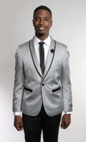 Satin Shiny Grey Tuxedo Dinner Jacket Blazer Paisley Sport Coat Sequin