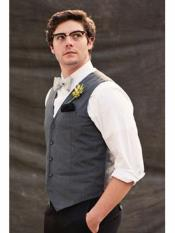 Mens  Matching Grey ~ Gray Dress Tuxedo Wedding Mens Vest ~