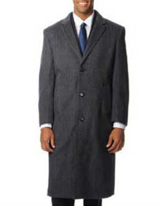 Dress Coat Harvard Grey Herringbone Tweed Blend Long Overcoat ~ Topcoat