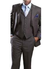 Mens 3 Piece Big & Tall Grey Executive Pinstripe Suit