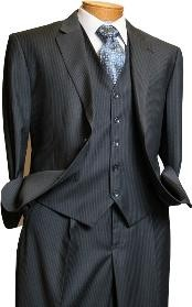 Platinum Stays Cool Discounted Sale Mens 3 Piece Grey Pinstripe Italian Design three piece suit