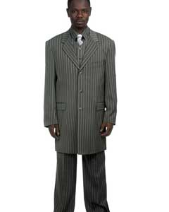 Mens Zoot Suit ILCO8180 Mens Stylish Grey Pinstripe Suit & Bold Pronounce