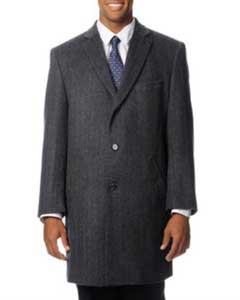 Moda Mens Dress Coat Car Coat Ram Grey Cashmere Blend Top Coat