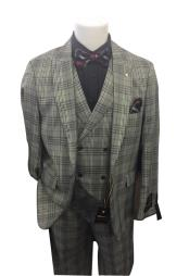 Mens Grey Two Button Closure Plaid