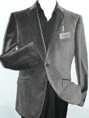 Gray~Grey Velvet Blazer Entertainer Formal or Casual Sport Coat Cotton