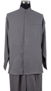 Mens Mandarin Banded Shirt and Matching Solid Pleated Pants Preacher Round Style