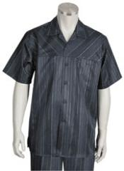 Five Button Closure Spread Collar Short Sleeve and Striped Pattern Suit