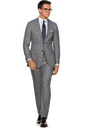 2 Button Wool checkered check pattern Notch Lapel Grey Slim Fit