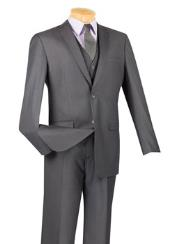 Heather Grey 3 Piece 100% Wool Executive Suit - Narrow Leg