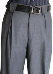 Mens Classic Fit Pleated Front 2 Back Pockets Fine Wool Wide Leg
