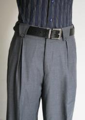 Mens Super 150s 100% Wool Wide Leg Dress Pants / Slacks Grey