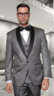 Mens Two Toned Lapel Enzo 1-Button Side Vents Solid Wool Tuxedo Grey