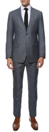 Slim Fit Suit - Fitted Suit Mens Grey or Blue Flat Front