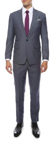 Mens Grey or Blue Peak Lapel Suit Extra Slim Fitted Pants