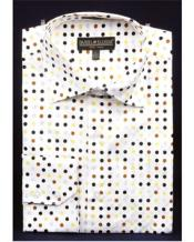 Mens High Collar Shirts DE Brown Big Cuff Polka Dot