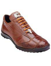 Mens Authentic Genuine Skin Italian Paulo Honey Genuine Ostrich / Soft Calfskin