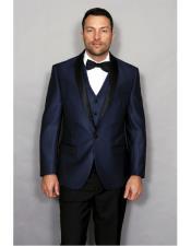 Mens Indigo 1 Button Modern Fit vested tuxedo Suit