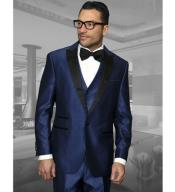 3 Piece Wool Tuxedo 1 Button Vested Peak Lapel Dinner Jacket Indigo ~ Bright Blue