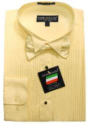 Ivory Yellow Tuxedo Dress Shirt with Bowtie & Studs 