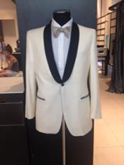 Mens Dress Formal Ivory ~ Cream ~ Off White Dinner Jacket ~ Tuxedo ~ Blazer ~ Sport Coat Black Lapel 