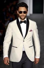 Mens Ivory and Black Satin Lapels Dress The Groom Holds The Wedding