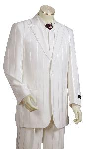 3 Piece Off white Cream Ivory Zoot Suits For Men Shadow Stripe tone on tone