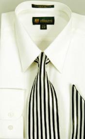 Moda Classic Cotton Dress Shirt with Ties and Handkerchiefs Ivory