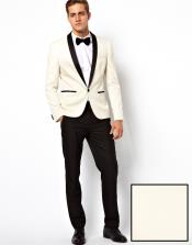 Mens Ivory ~ Cream ~ Off / Black Lapel White Shawl Collar Tuxedo Dinner Jacket / Blazer