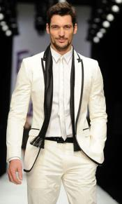 Ivory White Groom Tuxedo With Black Edge