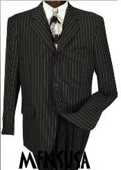 black and white striped suit