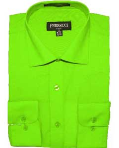 Mens Slim Fit Dress Shirt - Lime ~ Apple Green