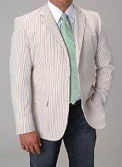 Summer Light Wright Sport coat Khaki ~ Tan ~ Beige Seersucker Sear