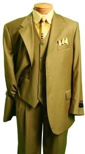 Fashion Three Piece Suit in British Khaki ~ Bronze ~ Camel