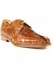 Mens Laceup Style Leather Genuine Hornback Crocodile Shoes Camel