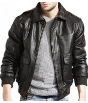 Military Genuine Lamb Black Leather Flight Pilot Bomber Jacket