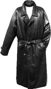 Dress Coat Traditional Double-Breasted Long Coat with Rear Cape Black Leather
