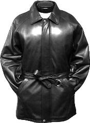 Mens Classic 3/4-Length Coat with Belt Black Leather long trench coat