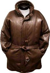 S-5X Brown Lambskin Leather Classic 3/4-Length China Collared Raincoat-Belt Zip-To-Top Overcoat