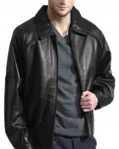 Mens Retro Throwback Lambskin Leather Big and Tall Bomber Jacket Black