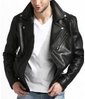 Lambskin Leather Biker Big and Tall Bomber Jacket Black