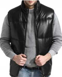 Classic Padded Bubble Vest In An A-GRADE SOFT Lambskin Leather Black