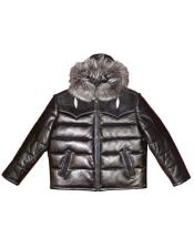 - 2910H Quilted Lambskin/Stingray Hooded Black Jacket
