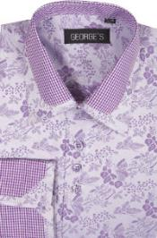 60% Cotton 40% Polyster Spread Collar Dress Shirt Lavender