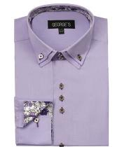 Lavender  60% Cotton 40% POLY Shirt Solid Color Double Collar