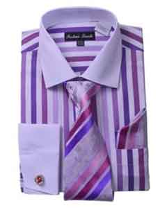 Fashion White Collar Two Toned Contrast Unique Stripe Shirt Tie White