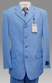 Mens Light Blue ~ Sky Baby Blue Pastel Color 3 Button Style Jacket Plus Pants Dress With