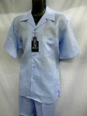 Light Blue Linen 2 Piece Casual Two Piece Walking Outfit For Sale Pant Sets Suit Short Sleeve