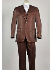 Brown ~ Rust ~ Copper Mens Notch Lapel 3 Piece Sharkskin