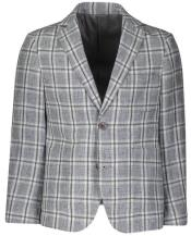 Boys 2 Button Single Breasted Windowpane Designed Light Gray Linen Blazer