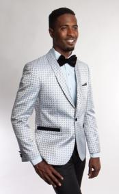 Floral Satin Shiny Tuxedo Light Grey Dinner Jacket Blazer